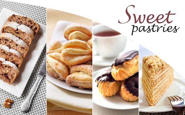 Collage di pasticceria dolce diversa Foto Premium