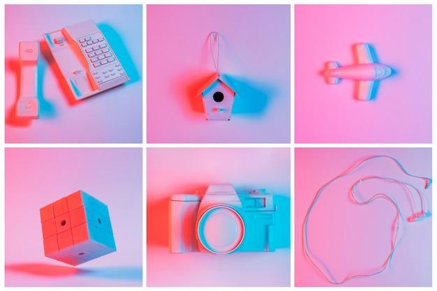 Collage di telefono fisso terrestre; birdhouse; aereo; fotocamera e auricolare sullo sfondo rosa Foto Gratuite
