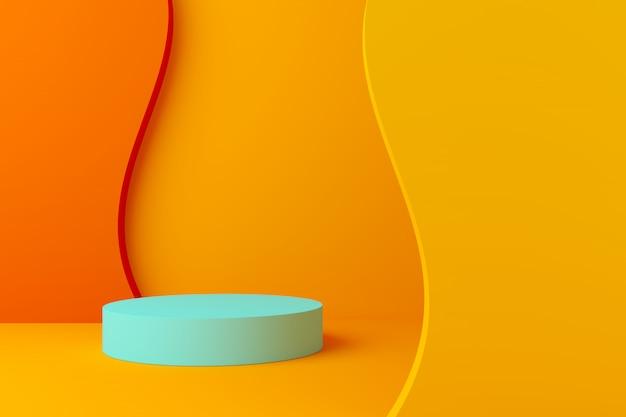 Colore pastello scena astratta con geometria forma podio sfondo Foto Premium