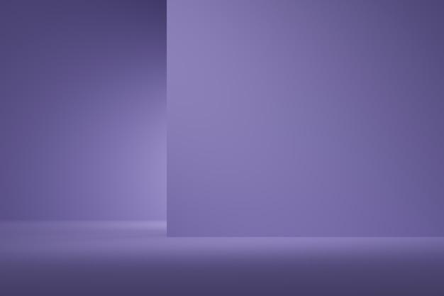 Colore viola del fondo astratto con il riflettore per il prodotto. concetto minimale. rendering 3d Foto Premium