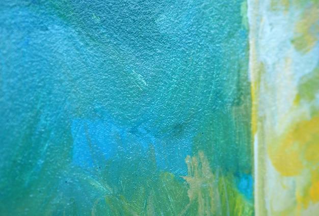 Colpo blu della spazzola della pittura a olio sul fondo e sulla struttura dell'estratto della tela Foto Premium
