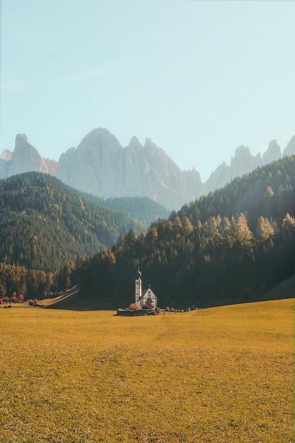 Colpo verticale di un bellissimo edificio su un campo erboso asciutto circondato da montagne boscose Foto Gratuite