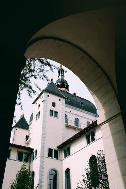 Colpo verticale di una cattedrale e degli alberi catturati da un corridoio a forma di arco Foto Gratuite