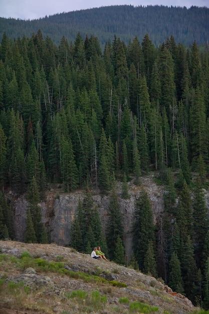Colpo verticale di una coppia seduta su una scogliera con montagne boscose Foto Gratuite