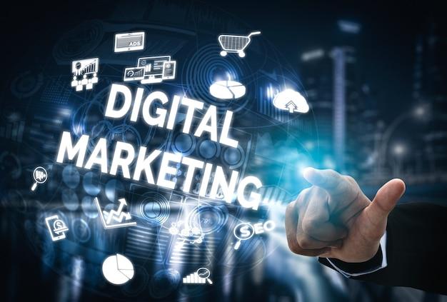 Commercializzazione della tecnologia digitale sfondo di affari Foto Premium