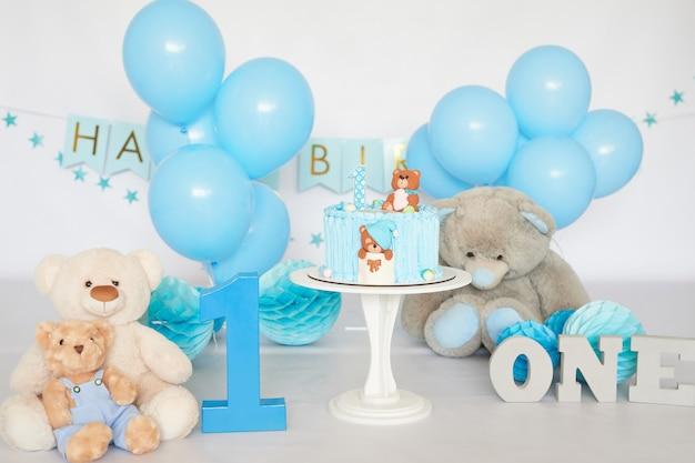 Compleanno 1 anno cake smash decor colore blu Foto Premium