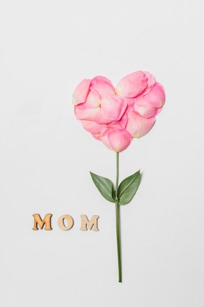 Composizione del titolo della mamma vicino alla fioritura rosa a forma di cuore Foto Gratuite