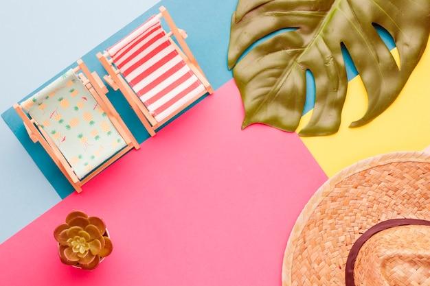 Composizione di sedie a sdraio cappello e piante Foto Gratuite