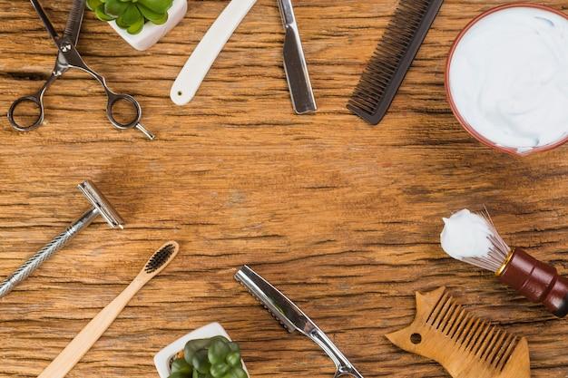 Composizione piatta laica di oggetti da barba Foto Gratuite