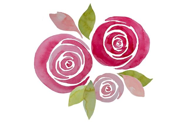 Composizione rosa nelle rose dell'acquerello, illustrazione. eleganti fiori dipinti a mano. Foto Premium