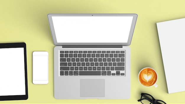 Computer labtop mockup vista dall'alto sulla scrivania Foto Premium