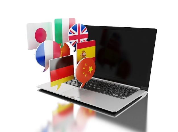 Computer portatile 3d con le bandierine di discorso della bolla. Foto Premium
