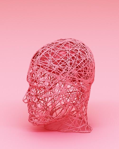 Concetto astratto variopinto degli uomini e della sua rappresentazione del cervello 3d Foto Premium