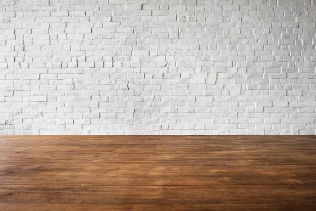 Concetto bianco strutturato della struttura della parete del pavimento di legno del mattone Foto Gratuite