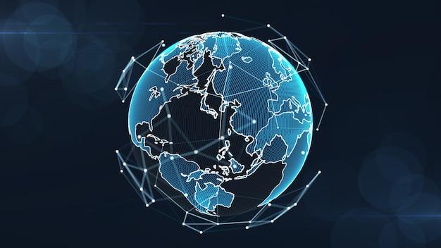 Concetto crescente dei collegamenti di dati e della rete globale. Foto Premium