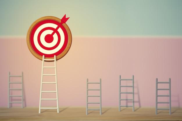 Concetto degli obiettivi: la scala bianca più lunga e che punta in alto verso l'obiettivo tra le altre scale brevi, raffigura prestazioni eccellenti e si distingue dalla folla e la pensa diversamente. Foto Premium