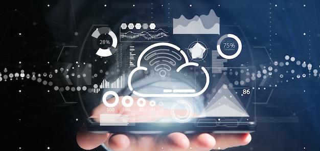 Concetto della nuvola e di wifi della tenuta dell'uomo d'affari con l'icona, le statistiche e la rappresentazione di dati 3d Foto Premium