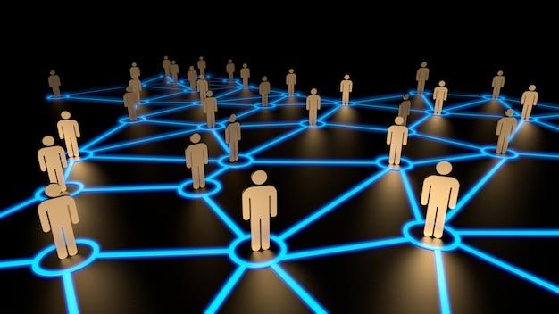 Concetto della rete sociale, figure umane sulla linea blu rappresentazione 3d Foto Premium
