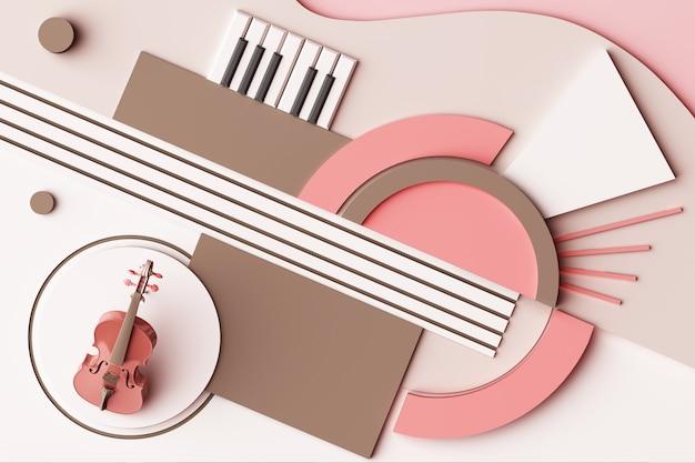 Concetto dello strumento di musica e del violino composizione astratta delle piattaforme di forme geometriche nella rappresentazione 3d di tono di rosa pastello Foto Premium