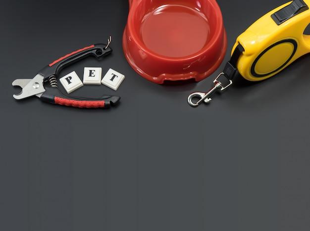 Concetto di accessori per animali domestici Foto Premium