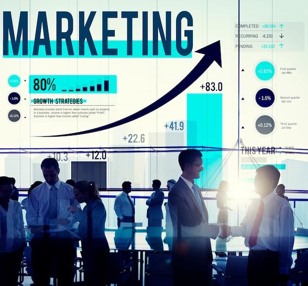 Concetto di affari di pianificazione di strategia di mercato di vendita Foto Gratuite