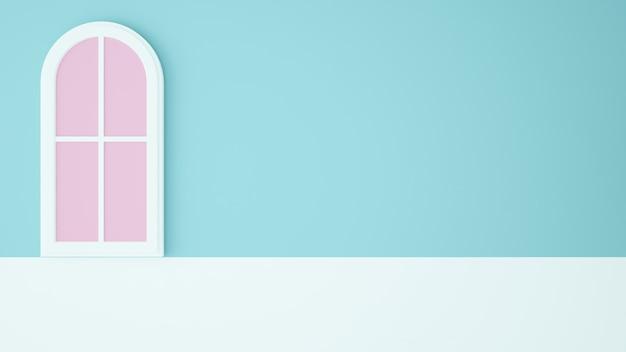 Concetto di arte della carta della finestra fondo di colore pastello - rappresentazione 3d Foto Premium
