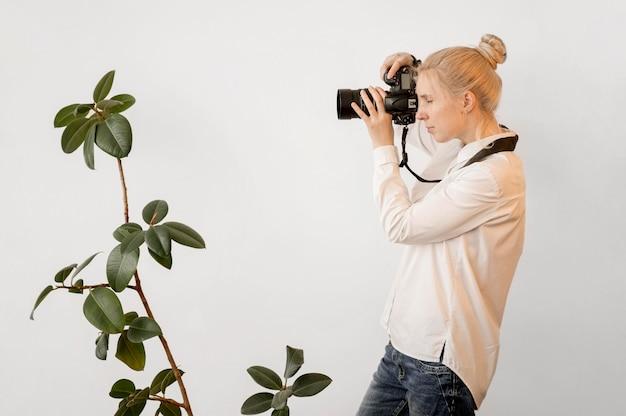 Concetto di arte della foto della pianta della casa e del fotografo Foto Gratuite