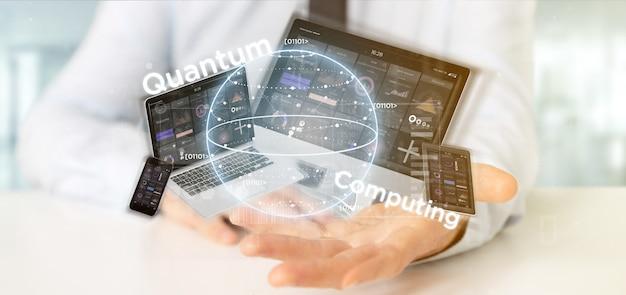 Concetto di calcolo di quantum della tenuta dell'uomo d'affari con la rappresentazione dei dispositivi e del qubit 3d Foto Premium