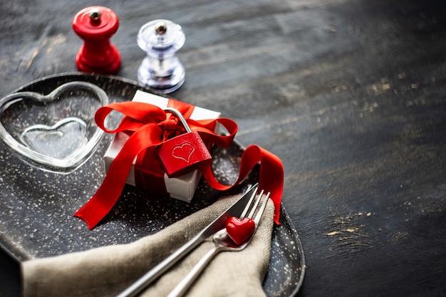 Concetto di cena di san valentino Foto Premium