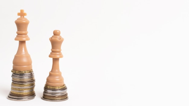 Concetto di disuguaglianza del re e della regina dei pezzi degli scacchi con lo spazio della copia Foto Gratuite