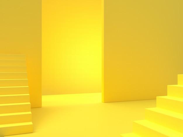Concetto di idea minima. il fondo giallo delle scale, 3d rende. Foto Premium