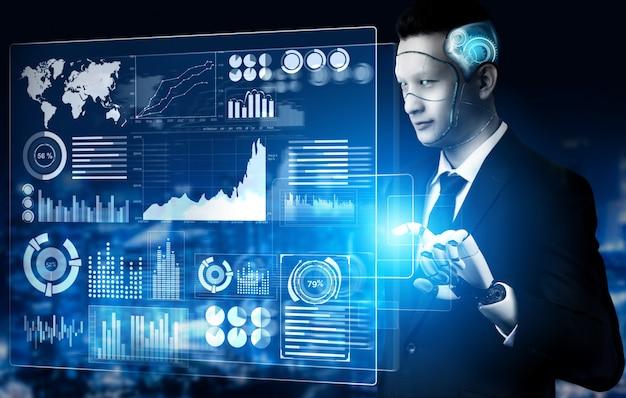 Concetto di intelligenza artificiale robot futuristico. Foto Premium