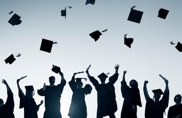Concetto di learning success education dello studente di graduazione di istruzione di celebrazione Foto Premium