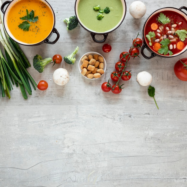 Concetto di minestra sana che mangia lo spazio della copia Foto Gratuite