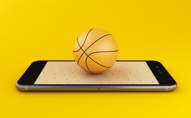 Concetto di pallacanestro e di scommesse online di sorveglianza 3d Foto Premium