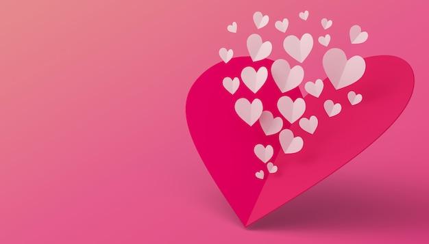 Concetto di san valentino, carta di amore, rappresentazione 3d. Foto Premium