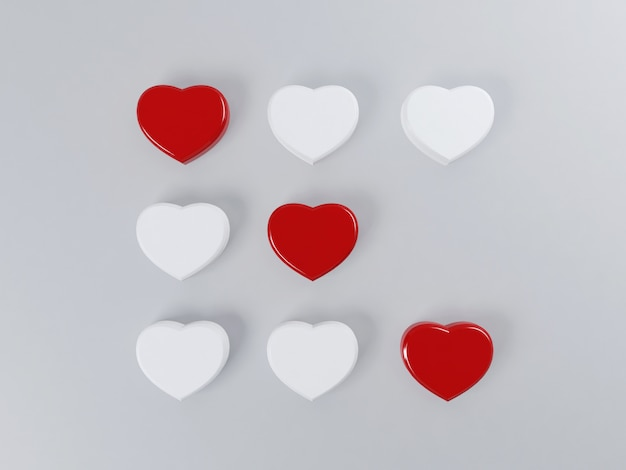 Concetto di san valentino con cuori gioco di tic tac toe Foto Premium