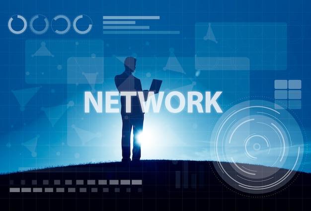 Concetto di tecnologia del collegamento digitale della rete di computer Foto Gratuite