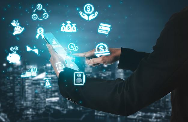 Concetto di tecnologia di transazione di soldi e di finanza Foto Premium