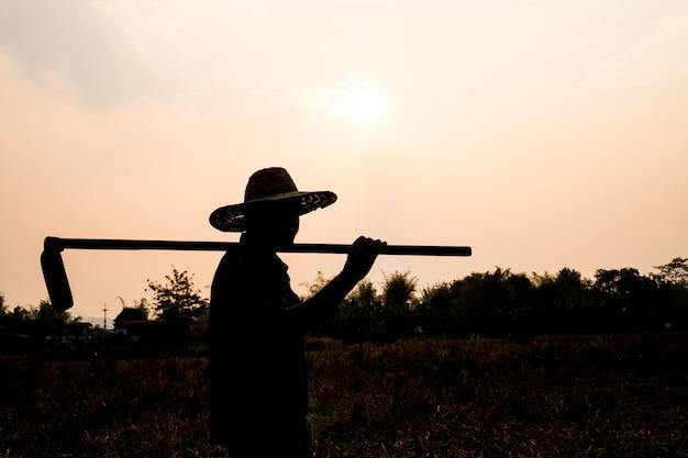 Concetto di vita dell'agricoltore di agricoltura: la siluetta nera di una vanga della tenuta del giardiniere o del lavoratore sta scavando il terreno alla luce del tramonto Foto Premium