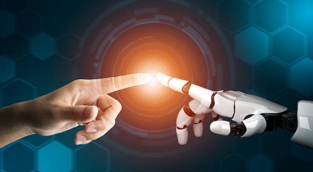 Concetto futuristico di intelligenza artificiale del robot Foto Premium