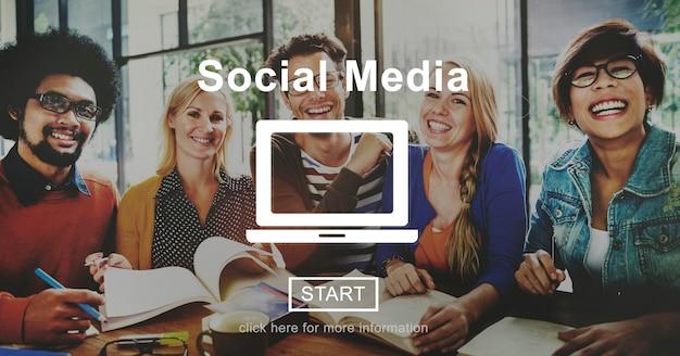 Concetto globale della comunità di comunicazione di media sociali Foto Gratuite