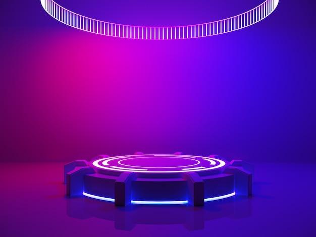 Concetto interno ultravioletto, palcoscenico vuoto e luce viola Foto Premium