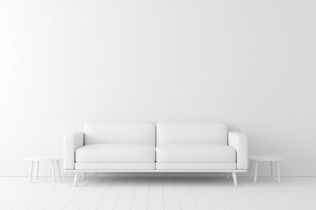 Concetto minimale interno del colore bianco vivente sul pavimento bianco e sullo sfondo. Foto Premium