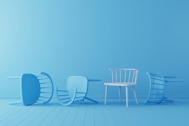 Concetto minimale sedia bianca eccezionale con caduta sedia blu sul pavimento blu e lo sfondo. Foto Premium