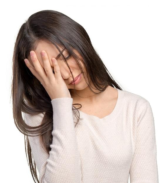 Condizione triste della giovane donna sollecitata ritratto Foto Premium