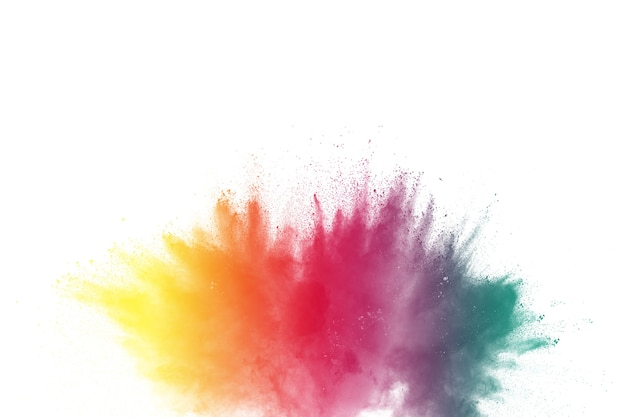 Congelare il movimento di esplosioni di polvere colorata isolato su sfondo bianco Foto Premium