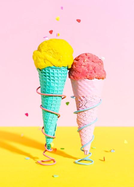 Coni gelato close-up Foto Gratuite