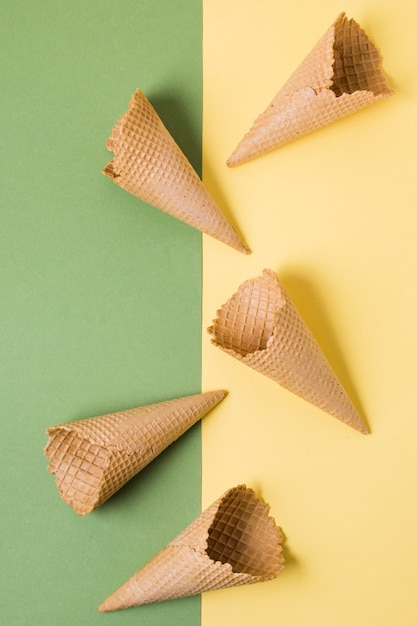 Coni gelato vista dall'alto Foto Gratuite
