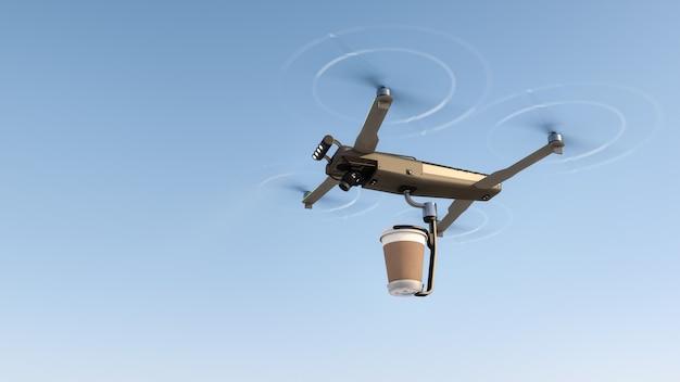 Consegna della bevanda al caffè con un drone volante. Foto Premium
